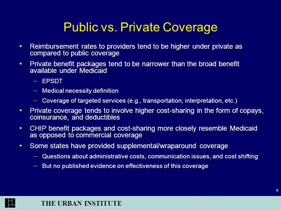 THE URBAN INSTITUTE 6 Public vs. Private Coverage Reimbursement rates to providers tend to be higher under private as compared to public coverage Priv