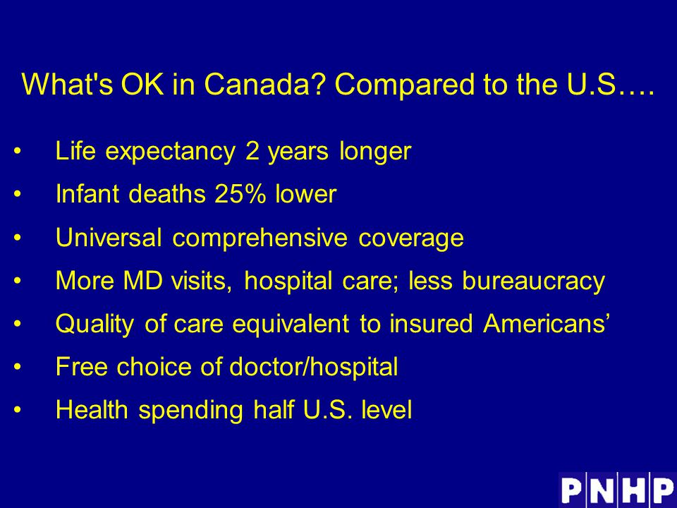 What s OK in Canada. Compared to the U.S….