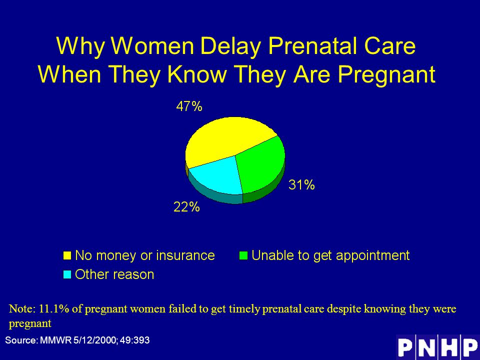 Why Women Delay Prenatal Care When They Know They Are Pregnant Source: MMWR 5/12/2000; 49:393 Note: 11.1% of pregnant women failed to get timely prenatal care despite knowing they were pregnant