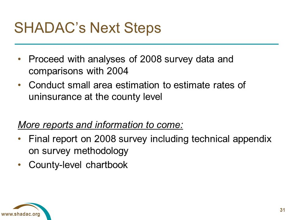 www.shadac.org 31 SHADAC's Next Steps Proceed with analyses of 2008 survey data and comparisons with 2004 Conduct small area estimation to estimate rates of uninsurance at the county level More reports and information to come: Final report on 2008 survey including technical appendix on survey methodology County-level chartbook