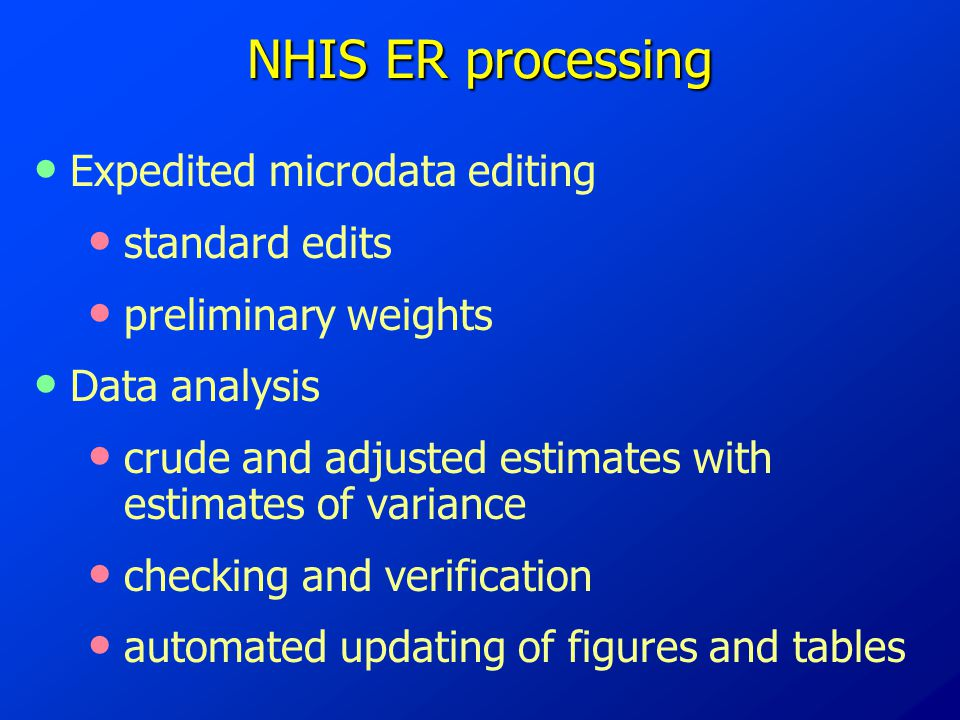 NHIS ER processing Expedited microdata editing standard edits preliminary weights Data analysis crude and adjusted estimates with estimates of variance checking and verification automated updating of figures and tables