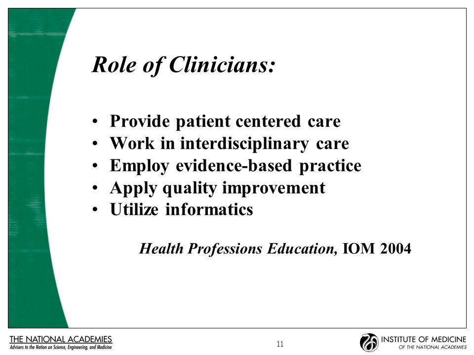 11 Role of Clinicians: Provide patient centered care Work in interdisciplinary care Employ evidence-based practice Apply quality improvement Utilize informatics Health Professions Education, IOM 2004