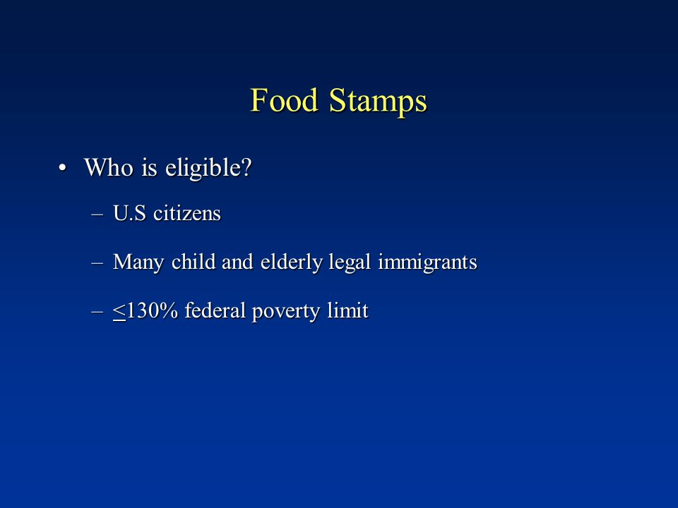 Food Stamps Average monthly allotment $73 per person Uses Food or food products Seeds or food-producing plants Exemptions Alcohol and tobacco Food to be eaten in the store Vitamins and medicines Pet foods Any non-food items