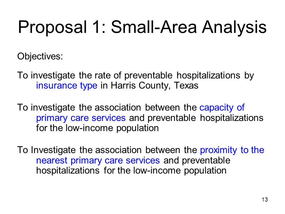 13 Proposal 1: Small-Area Analysis Objectives: To investigate the rate of preventable hospitalizations by insurance type in Harris County, Texas To investigate the association between the capacity of primary care services and preventable hospitalizations for the low-income population To Investigate the association between the proximity to the nearest primary care services and preventable hospitalizations for the low-income population