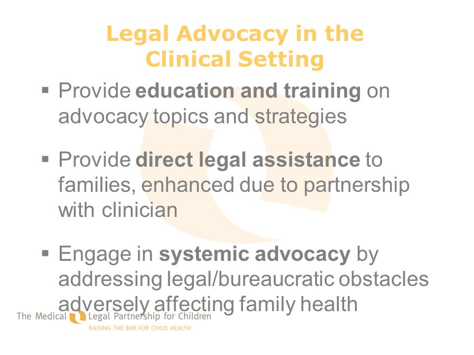 Legal Advocacy in the Clinical Setting  Provide education and training on advocacy topics and strategies  Provide direct legal assistance to familie