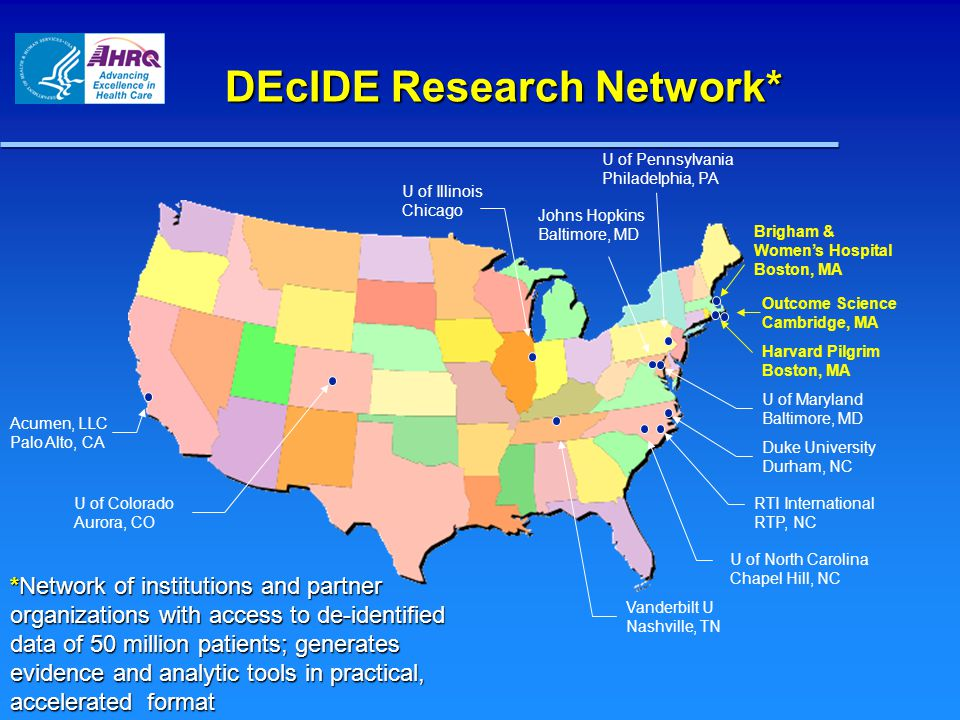 New Solicitations through the DEcIDE Network * Proposed information and not final information 1) Computer-based Clinical Decision Support (CDS) Tools for Gene- based Tests Used in Breast Cancer Developing clinical decision support (CDS) tools for gene-based tests that are used in the prevention and treatment of breast cancer Developing clinical decision support (CDS) tools for gene-based tests that are used in the prevention and treatment of breast cancer 2) Multicenter Research Cooperatives for Clinical & Comparative Effectiveness Studies* Creating multi-center research cooperatives to coordinate and conduct studies on clinical effectiveness and comparative effectiveness in selected priority health conditions (diabetes and cancer) Creating multi-center research cooperatives to coordinate and conduct studies on clinical effectiveness and comparative effectiveness in selected priority health conditions (diabetes and cancer) 3) Pilot Studies For Evaluating the Safety and Effectiveness of Prescription Drugs, Biologics and Vaccines Using Medicare Part D* Conducting pilot studies which evaluate the safety and effectiveness of prescription drugs, biologics and vaccines using Medicare Part D data Conducting pilot studies which evaluate the safety and effectiveness of prescription drugs, biologics and vaccines using Medicare Part D data