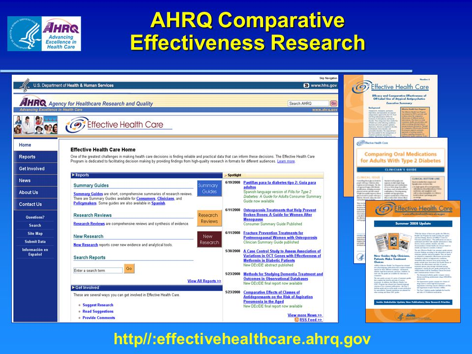 Effective Health Care Program: Comparative Effectiveness Reviews in Progress ConditionTopic Diabetes Comparative Effectiveness, Safety, and Indications of Insulin Analogues in Premixed Formulations for Adults with Type 2 Diabetes Heart and Blood Vessel Conditions Comparative Effectiveness of Medical Therapies for Stable Ischemic Heart Disease Cancer Core Needle Breast Biopsy and Surgical Excision Biopsy for Diagnosing Breast Lesions Breathing Conditions Comparative Effectiveness of Anticholinergic Medications in Patients with Chronic Obstructive Pulmonary Disease (COPD) Research Methodology A Qualitative Study to Understand Barriers to Conducting Cluster Randomized Trials