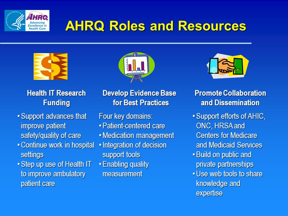 AHRQ Priorities Effective Health Care Program Medical Expenditure Panel Surveys Ambulatory Patient Safety Patient Safety Patient Safety  Health IT  Patient Safety Organizations  New Patient Safety Grants  Comparative Effectiveness Reviews  Comparative Effectiveness Research  Clear Findings for Multiple Audiences  Quality & Cost-Effectiveness, e.g.