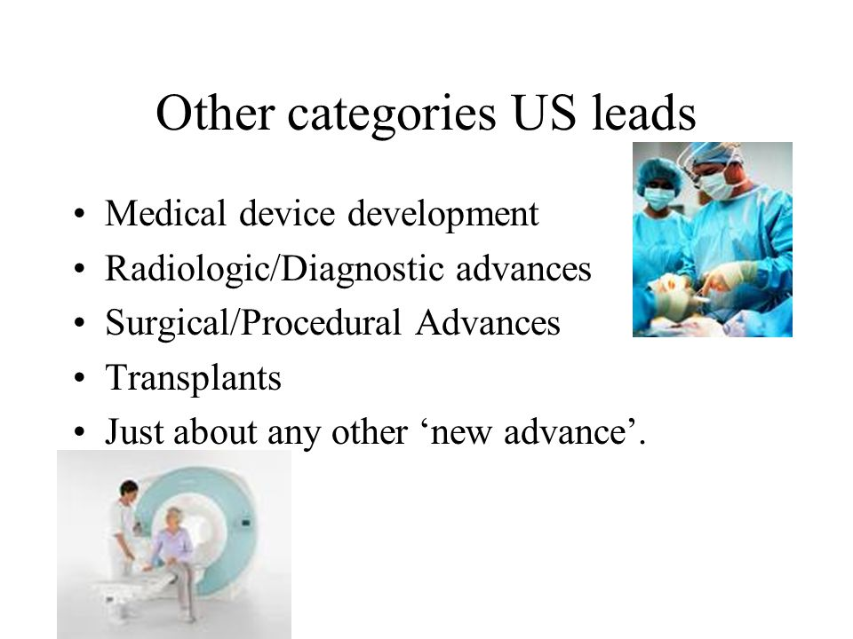 Other categories US leads Medical device development Radiologic/Diagnostic advances Surgical/Procedural Advances Transplants Just about any other 'new