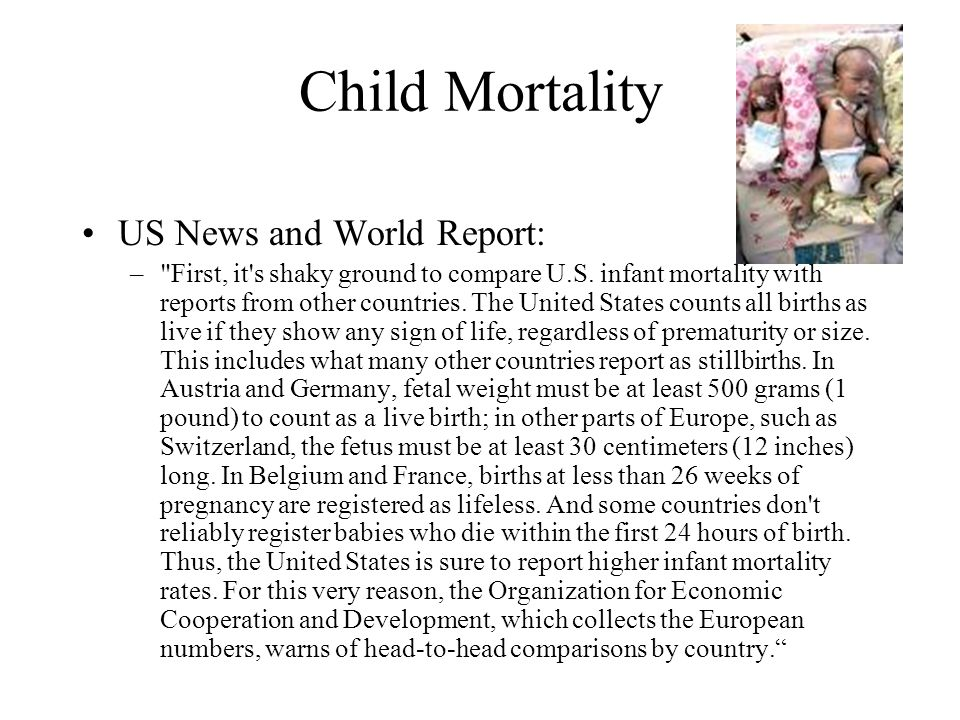 Child Mortality US News and World Report: –