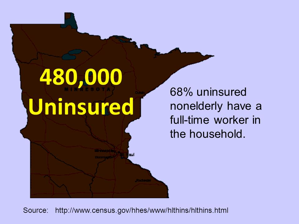 480,000 Uninsured Source: http://www.census.gov/hhes/www/hlthins/hlthins.html 68% uninsured nonelderly have a full-time worker in the household.