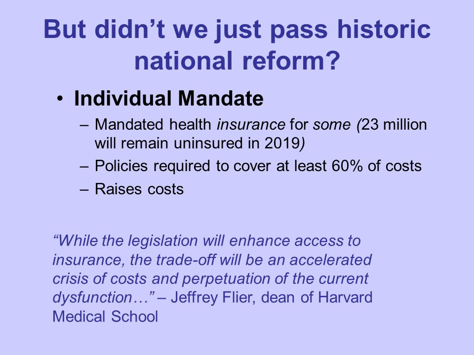 But didn't we just pass historic national reform.