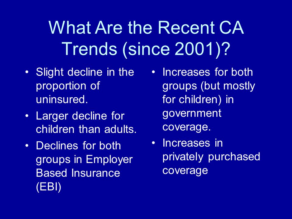 What Are the Recent CA Trends (since 2001)? Slight decline in the proportion of uninsured. Larger decline for children than adults. Declines for both