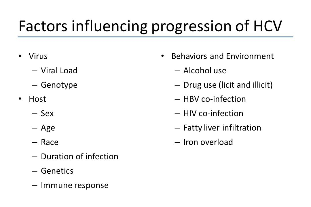 Factors influencing progression of HCV Virus – Viral Load – Genotype Host – Sex – Age – Race – Duration of infection – Genetics – Immune response Beha