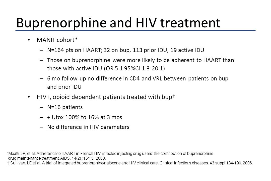 Buprenorphine and HIV treatment MANIF cohort* – N=164 pts on HAART; 32 on bup, 113 prior IDU, 19 active IDU – Those on buprenorphine were more likely