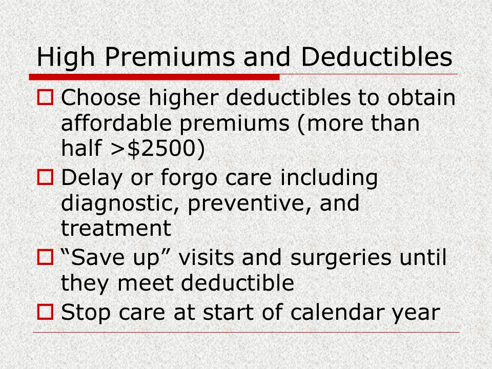 High Premiums and Deductibles  Choose higher deductibles to obtain affordable premiums (more than half >$2500)  Delay or forgo care including diagnostic, preventive, and treatment  Save up visits and surgeries until they meet deductible  Stop care at start of calendar year