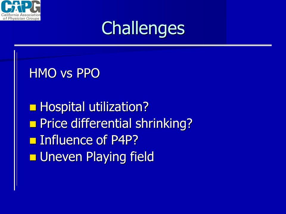 Challenges HMO vs PPO Hospital utilization? Hospital utilization? Price differential shrinking? Price differential shrinking? Influence of P4P? Influe