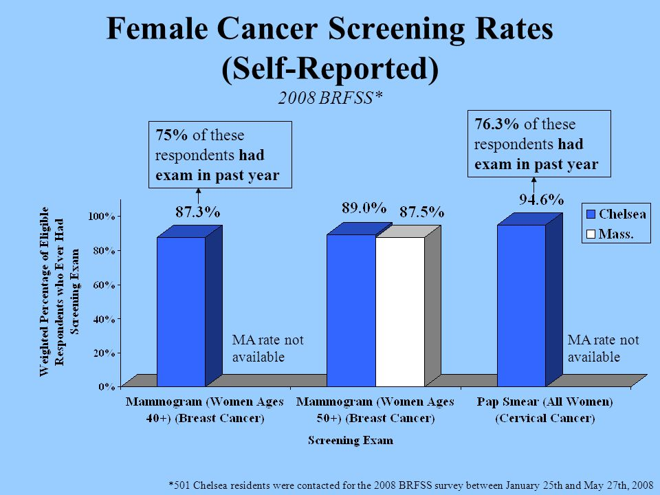 Female Cancer Screening Rates (Self-Reported) 2008 BRFSS* *501 Chelsea residents were contacted for the 2008 BRFSS survey between January 25th and May 27th, 2008 75% of these respondents had exam in past year 76.3% of these respondents had exam in past year MA rate not available