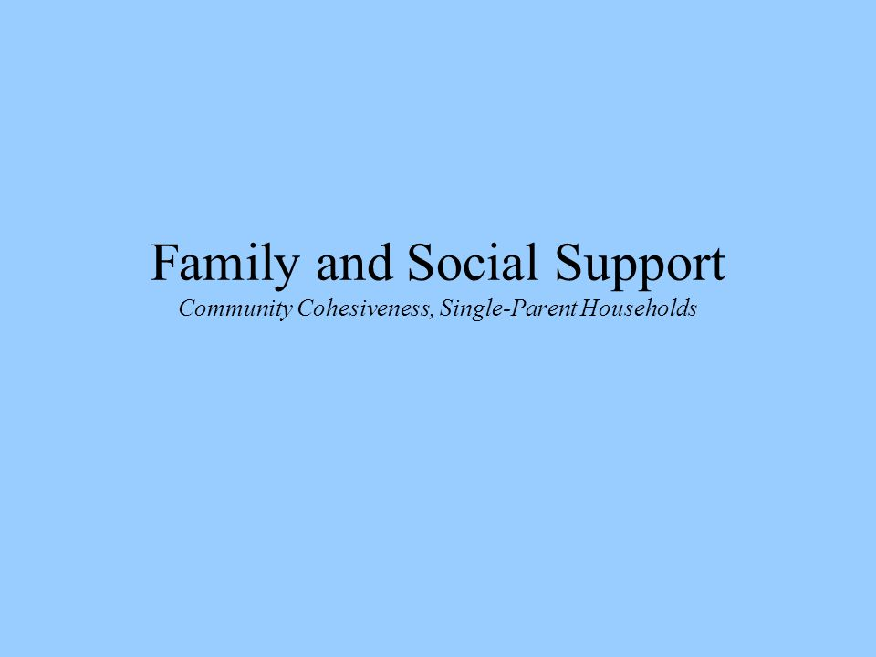 Family and Social Support Community Cohesiveness, Single-Parent Households