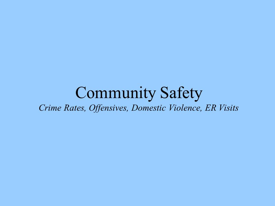 Community Safety Crime Rates, Offensives, Domestic Violence, ER Visits