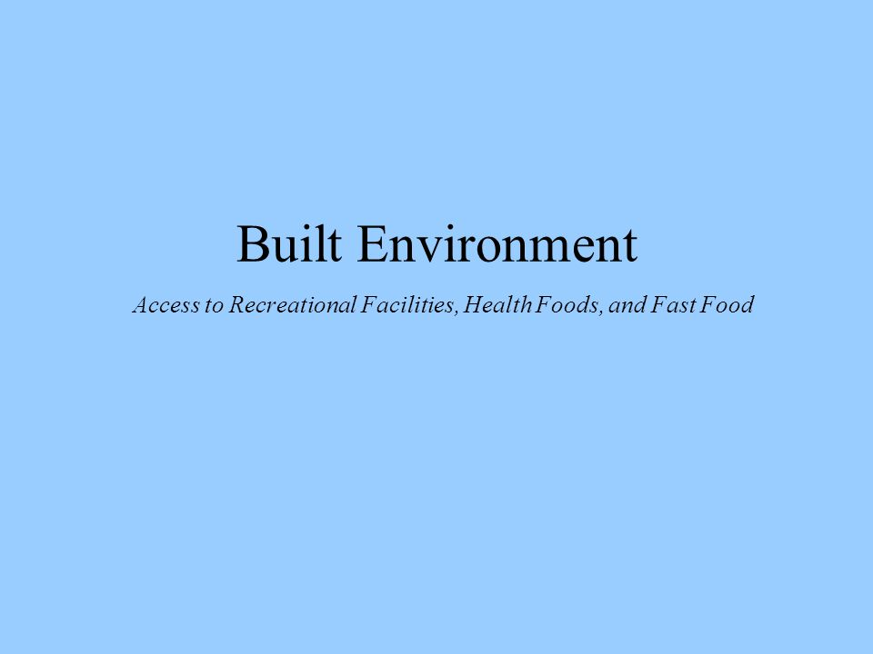 Built Environment Access to Recreational Facilities, Health Foods, and Fast Food