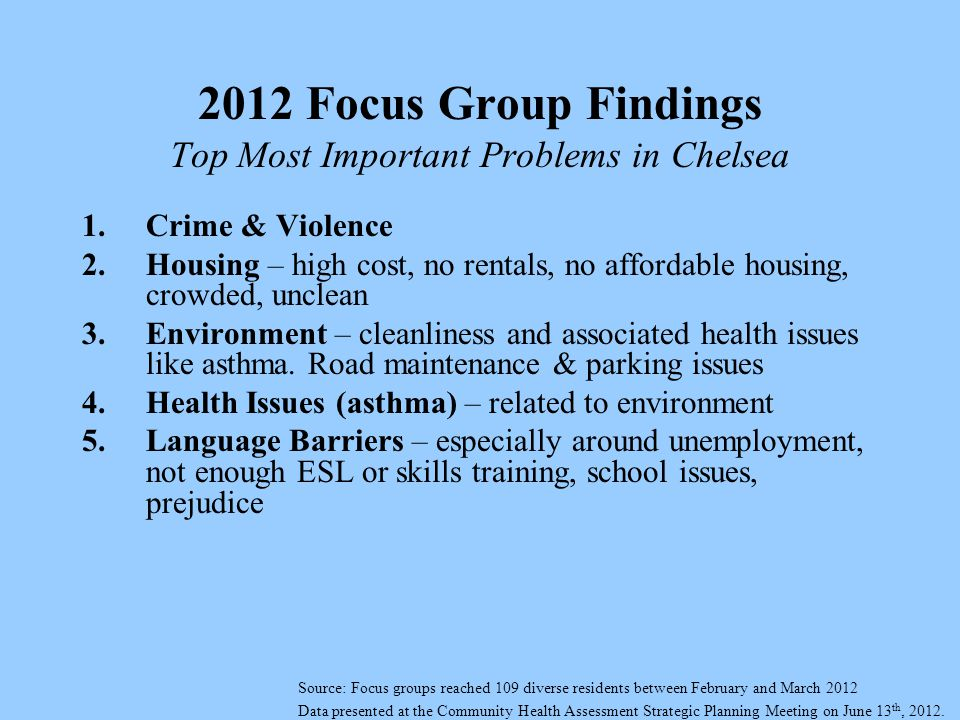 2012 Focus Group Findings Top Most Important Problems in Chelsea 1.Crime & Violence 2.Housing – high cost, no rentals, no affordable housing, crowded, unclean 3.Environment – cleanliness and associated health issues like asthma.