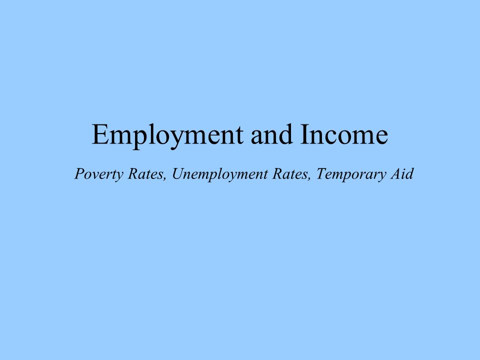 Employment and Income Poverty Rates, Unemployment Rates, Temporary Aid