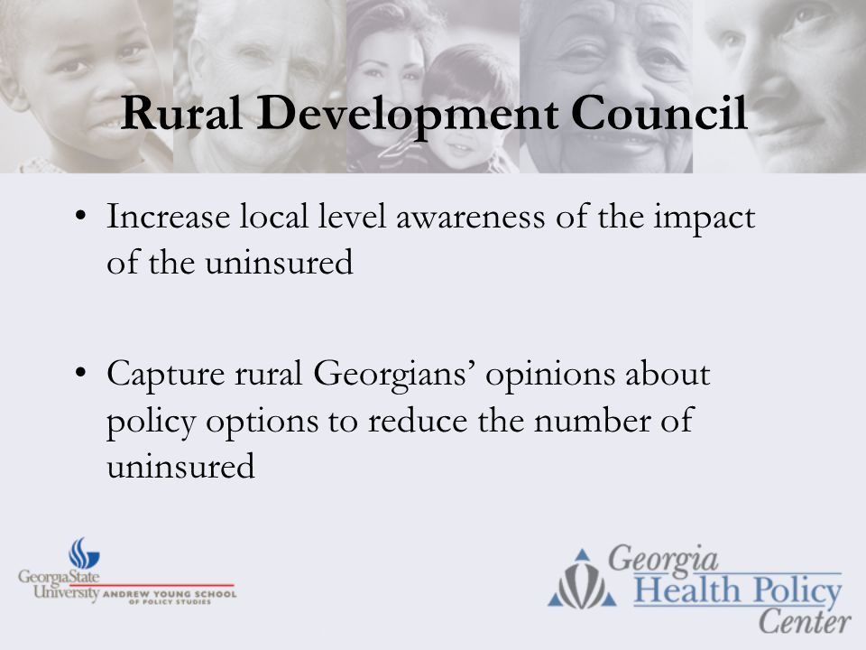 Rural Development Council Increase local level awareness of the impact of the uninsured Capture rural Georgians' opinions about policy options to reduce the number of uninsured