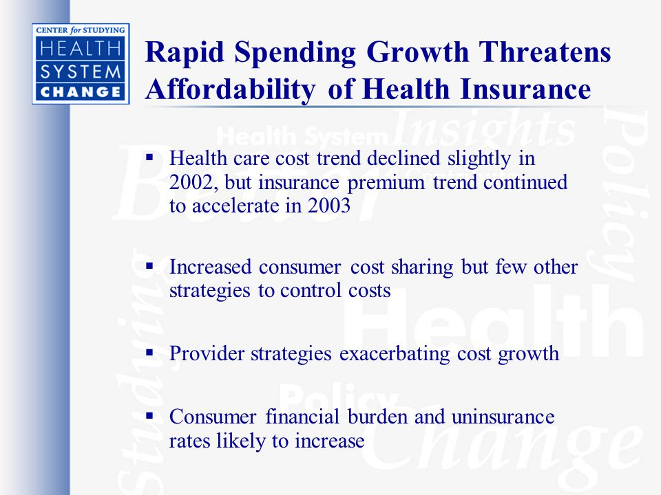 Rapid Spending Growth Threatens Affordability of Health Insurance  Health care cost trend declined slightly in 2002, but insurance premium trend continued to accelerate in 2003  Increased consumer cost sharing but few other strategies to control costs  Provider strategies exacerbating cost growth  Consumer financial burden and uninsurance rates likely to increase