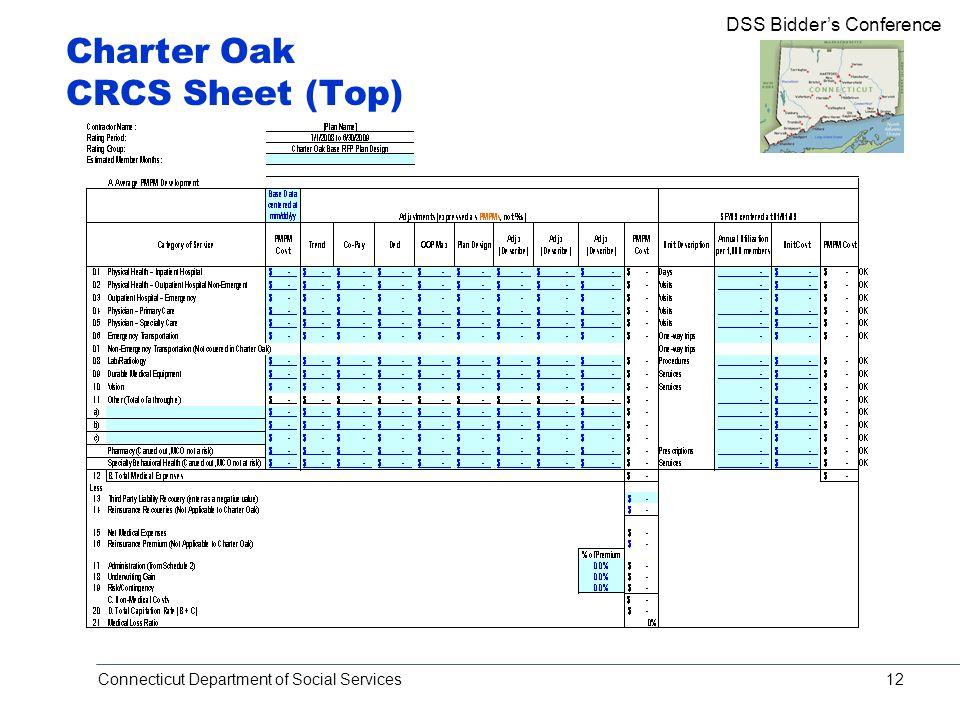 Connecticut Department of Social Services DSS Bidder's Conference 12 Charter Oak CRCS Sheet (Top)