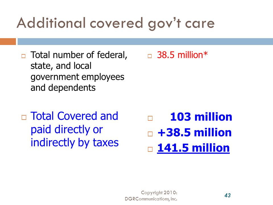 Additional covered gov't care  Total number of federal, state, and local government employees and dependents  Total Covered and paid directly or indirectly by taxes  38.5 million*  103 million  +38.5 million  141.5 million 43 Copyright 2010: DGRCommunications, Inc.