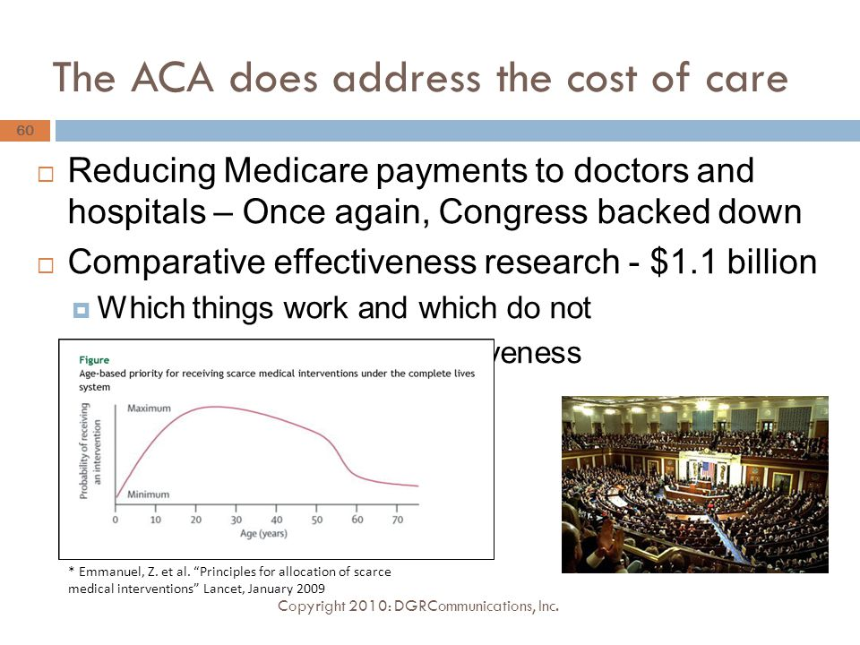 The ACA does address the cost of care  Reducing Medicare payments to doctors and hospitals – Once again, Congress backed down  Comparative effectiveness research - $1.1 billion  Which things work and which do not  Concern: Cost versus effectiveness  Value of human life Copyright 2010: DGRCommunications, Inc.