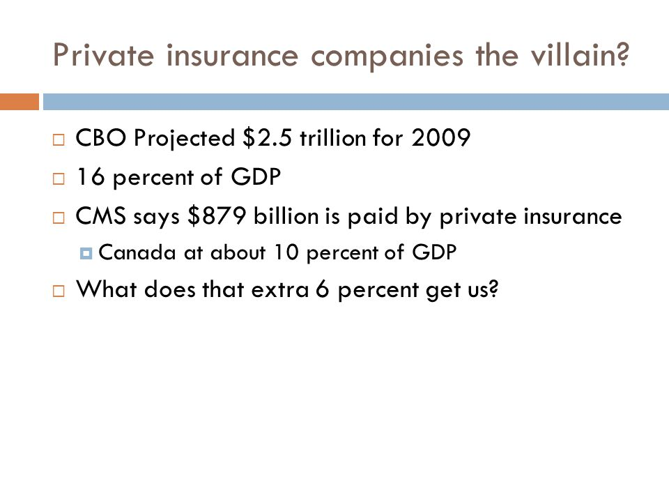 Insurance covered most of it. What does the private health insurance system get us.