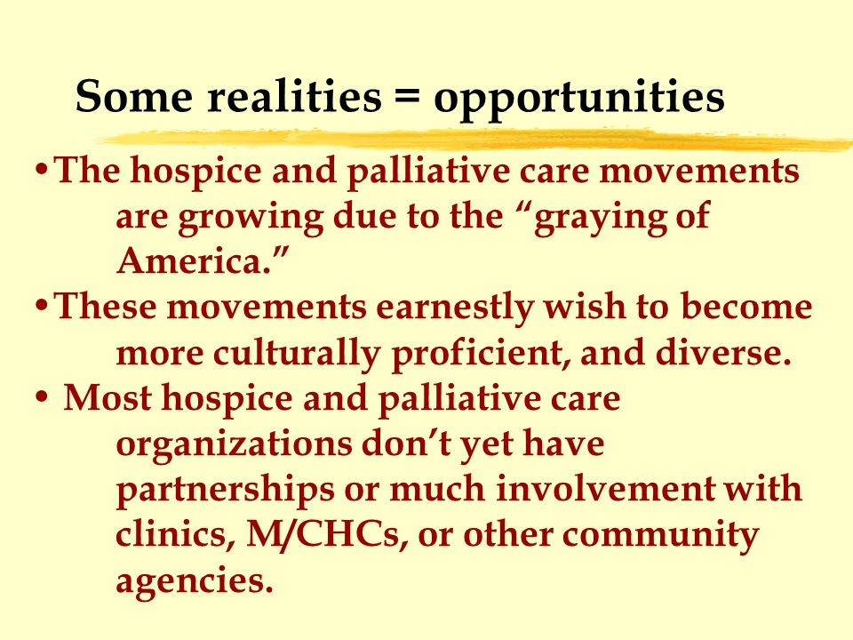 Some realities = opportunities The hospice and palliative care movements are growing due to the graying of America. These movements earnestly wish to become more culturally proficient, and diverse.