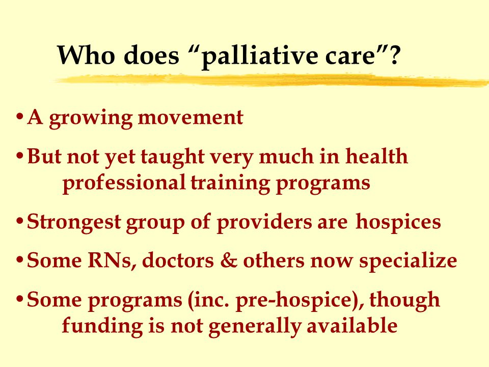 Who does palliative care .