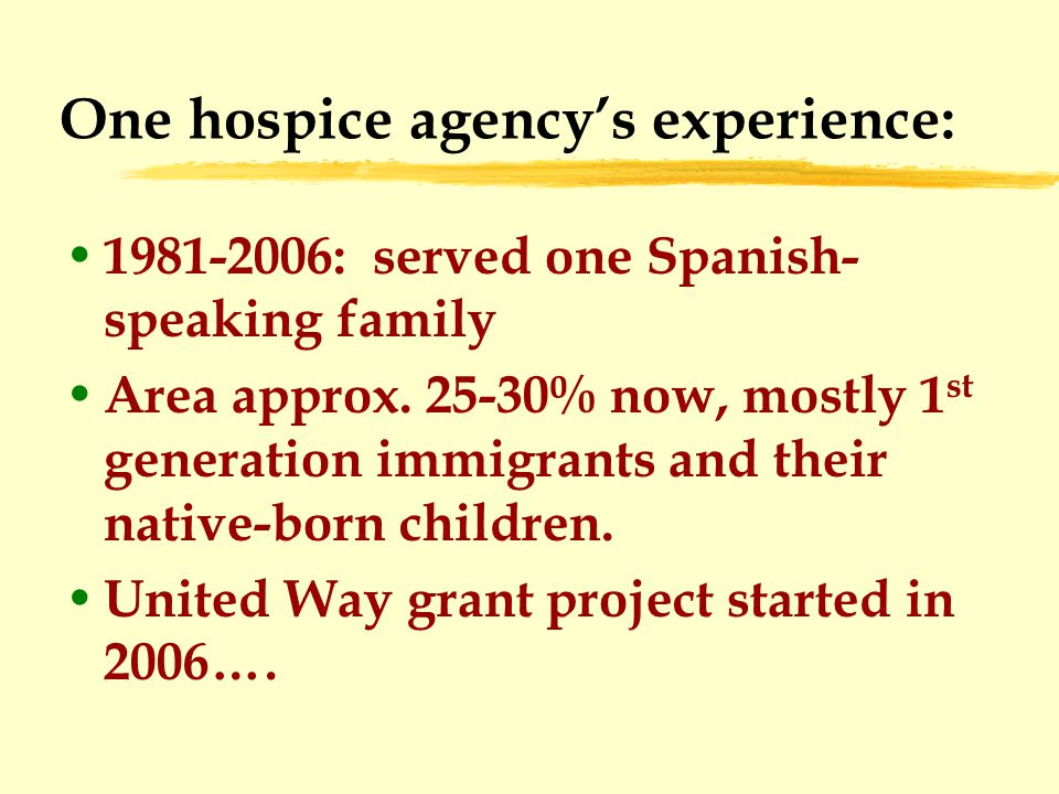 One hospice agency's experience: 1981-2006: served one Spanish- speaking family Area approx.