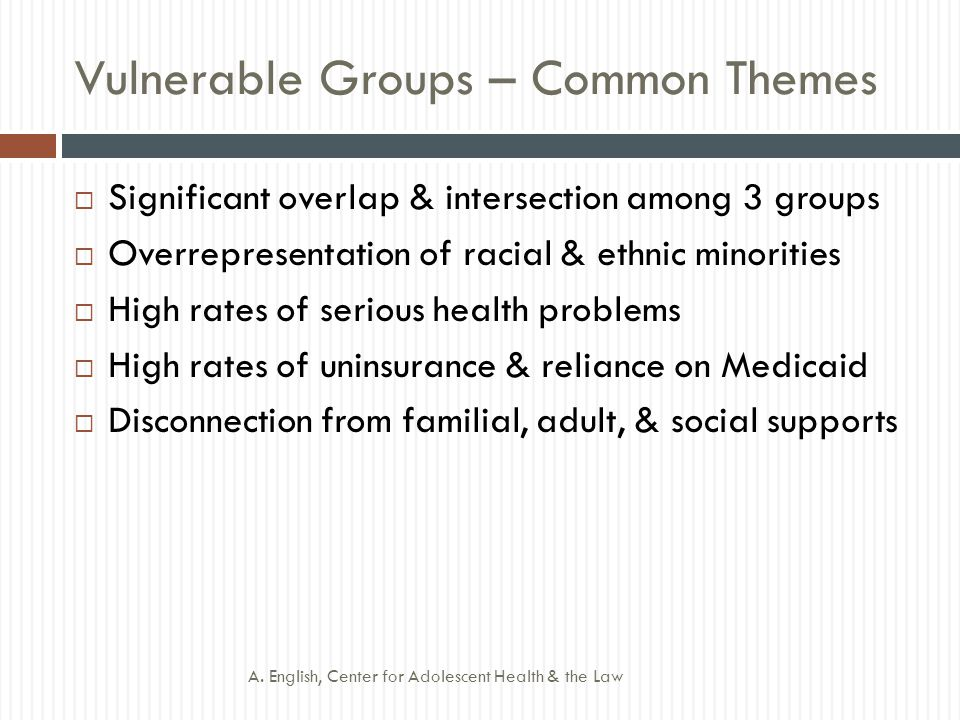Vulnerable Groups – Common Themes  Significant overlap & intersection among 3 groups  Overrepresentation of racial & ethnic minorities  High rates of serious health problems  High rates of uninsurance & reliance on Medicaid  Disconnection from familial, adult, & social supports A.