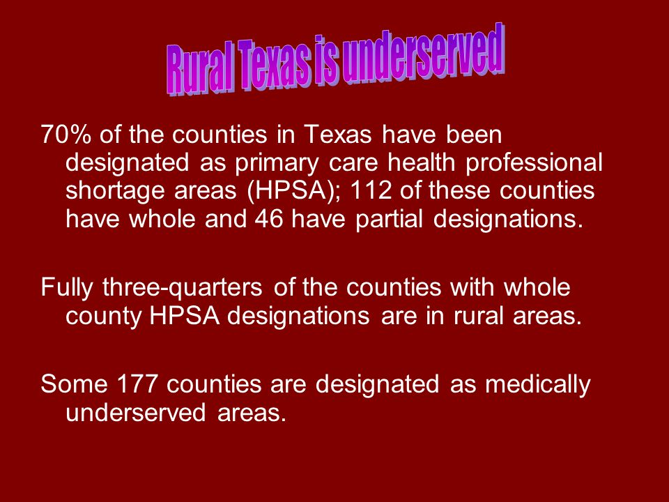 There are 580 hospitals in Texas, of which 164 are rural, acute care facilities.