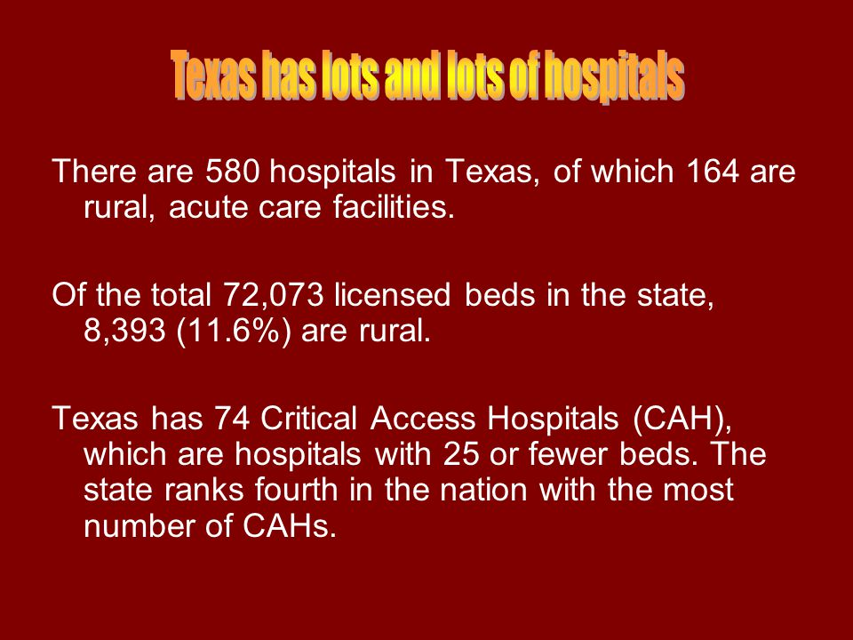 Sixty-three counties in Texas today have no hospitals.