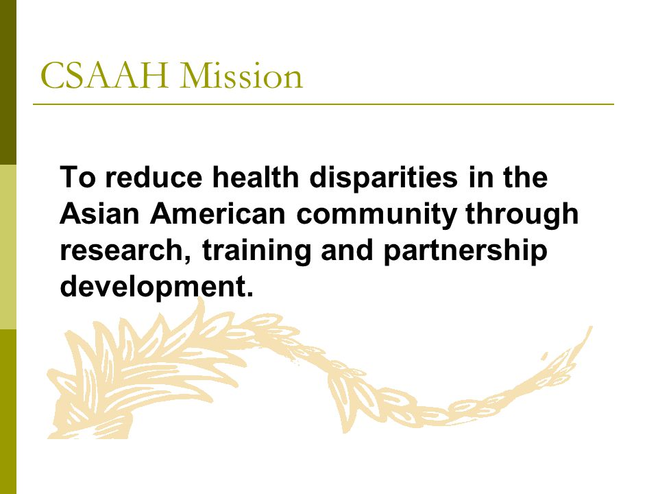 CSAAH Mission To reduce health disparities in the Asian American community through research, training and partnership development.