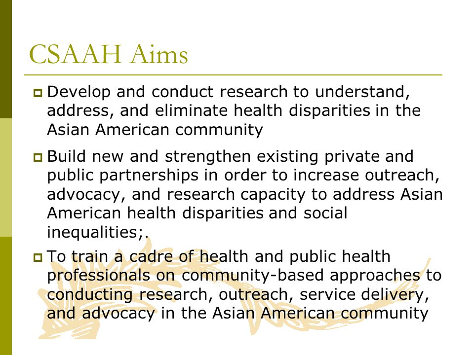  Develop and conduct research to understand, address, and eliminate health disparities in the Asian American community  Build new and strengthen existing private and public partnerships in order to increase outreach, advocacy, and research capacity to address Asian American health disparities and social inequalities;.