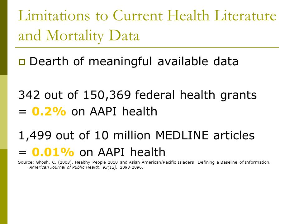 Limitations to Current Health Literature and Mortality Data  Dearth of meaningful available data 342 out of 150,369 federal health grants = 0.2% on AAPI health 1,499 out of 10 million MEDLINE articles = 0.01% on AAPI health Source: Ghosh, C.
