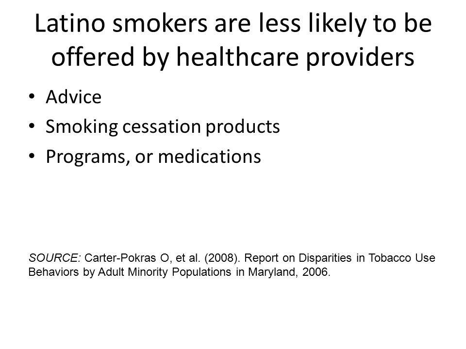 Latino smokers are less likely to be offered by healthcare providers Advice Smoking cessation products Programs, or medications SOURCE: Carter-Pokras O, et al.