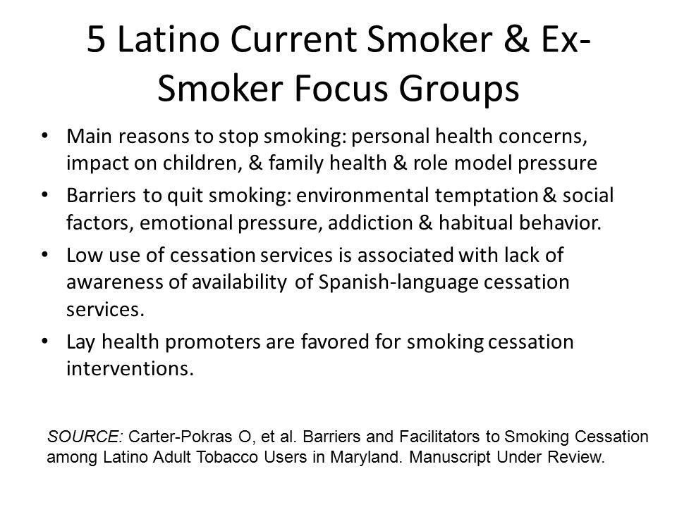 5 Latino Current Smoker & Ex- Smoker Focus Groups Main reasons to stop smoking: personal health concerns, impact on children, & family health & role model pressure Barriers to quit smoking: environmental temptation & social factors, emotional pressure, addiction & habitual behavior.
