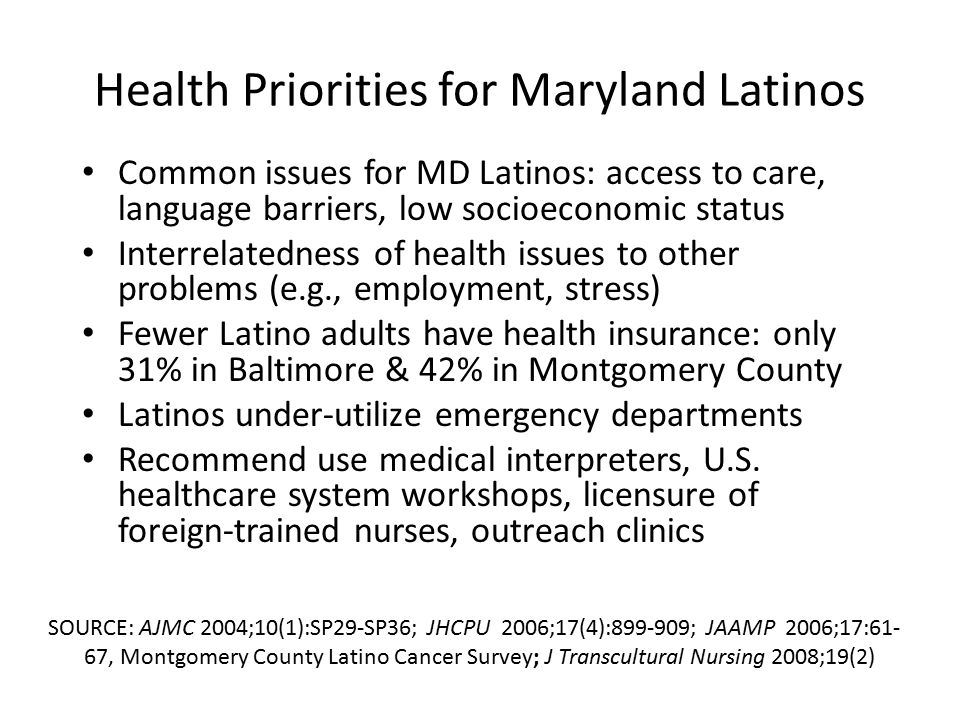 Health Priorities for Maryland Latinos Common issues for MD Latinos: access to care, language barriers, low socioeconomic status Interrelatedness of health issues to other problems (e.g., employment, stress) Fewer Latino adults have health insurance: only 31% in Baltimore & 42% in Montgomery County Latinos under-utilize emergency departments Recommend use medical interpreters, U.S.