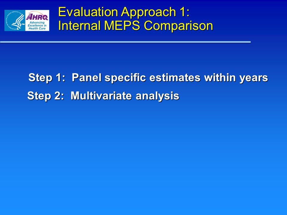 Evaluation Approach 1: Internal MEPS Comparison Step 1: Panel specific estimates within years Step 2: Multivariate analysis