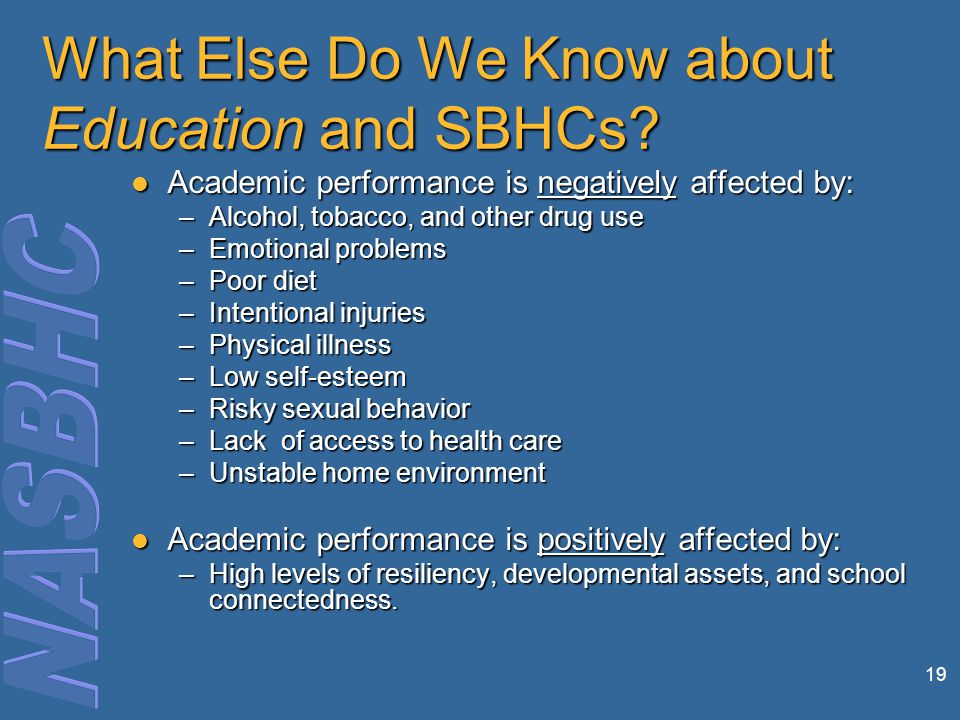 What Else Do We Know about Education and SBHCs.
