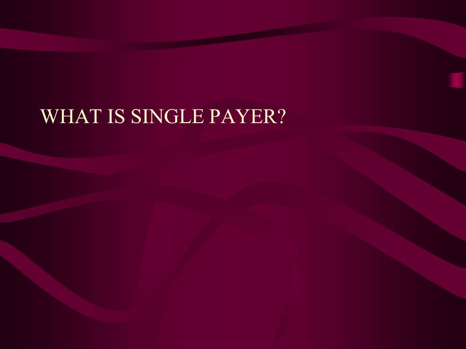 WHAT IS SINGLE PAYER?