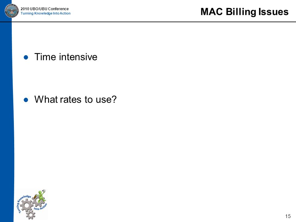 2010 UBO/UBU Conference Turning Knowledge Into Action MAC Billing Issues Time intensive What rates to use.