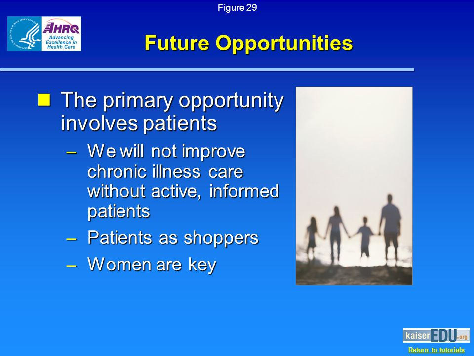Return to tutorials Future Opportunities The primary opportunity involves patients The primary opportunity involves patients – We will not improve chronic illness care without active, informed patients – Patients as shoppers – Women are key Figure 29